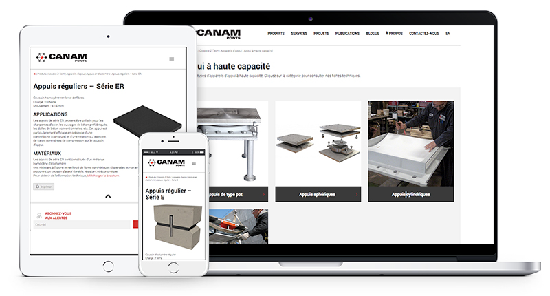 Canam-ponts modifie l'ergonomie des pages Web de produits Goodco Z-Tech